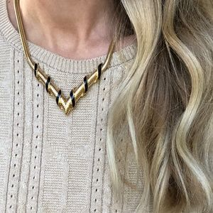 Vintage Golden V Statement Necklace